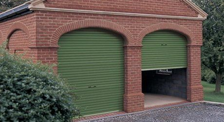 partially open garage door