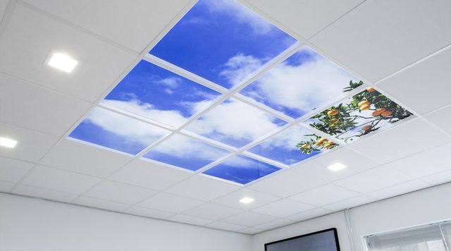 Led suspended ceiling sky panel feature lighting all of our panels are dimmable by default with options for remote control as well if so required you can also choose if you want glossy or anti reflective mozeypictures Choice Image