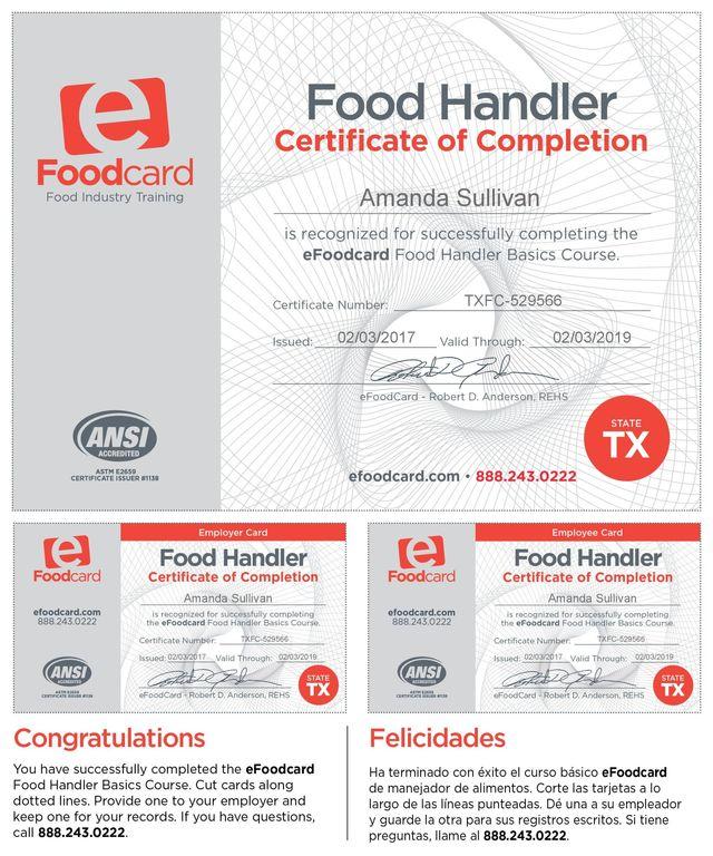 Texas Certified Food Handler