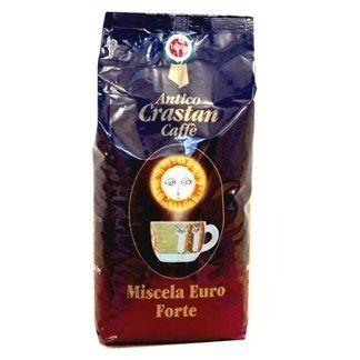 una confezione di caffè blu e rossa con scritto Antico Crastan Caffè Miscela Euro Forte