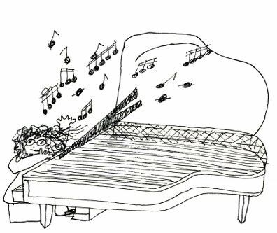Drawing of someone playing the piano