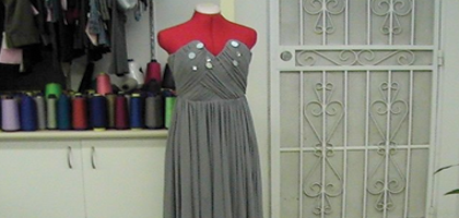 Dress being re-styled for the customer