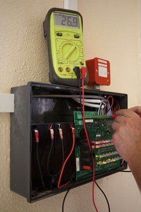 Electrical testing on a buildings exterior