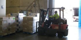 Boxes being shifted by a forklift