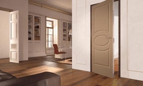 due porte sezionali aperte in un soggiorno