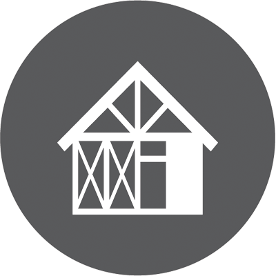 An icon depicting home extensions