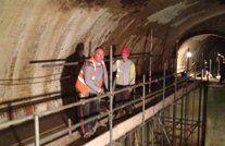 scaffolding inside a tunnel