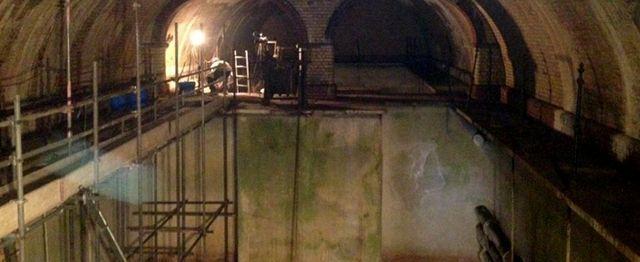 Scaffolding in an underground tunnel