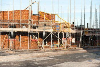 Scaffolding on-site of new build home construction