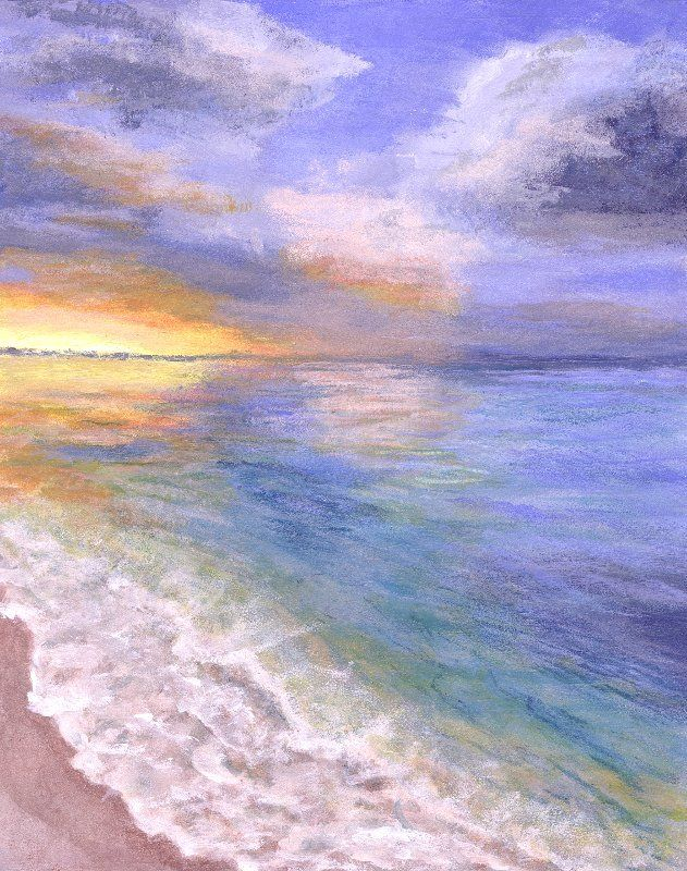 Ocean Waves on Beach at Sunset Painting