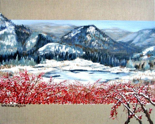Winter Scene Painting by Wanda Pepin