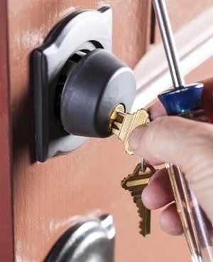 Door lock being fitted