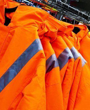Orange protective jackets