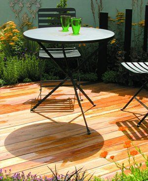 Table and chairs on decking