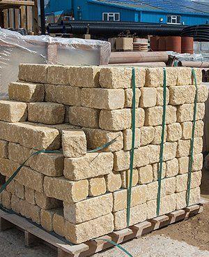 Pallet of natural stone bricks
