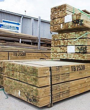 Pallets of timber