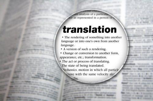 Ingrandimento e messa a fuoco della parola Translation all'interno di un vocabolario