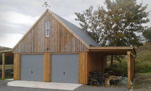 A timber framed double garage