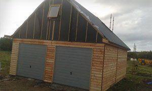 A wooden garage