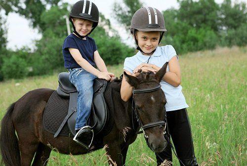 due bambini con dei caschi su un puledro