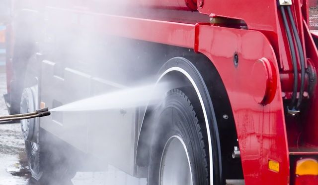 Washing a truck