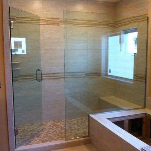 View of the custom bathroom glass door installed by specialists in Mountain Home, AR