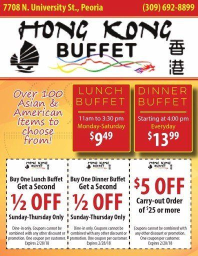 Hong Kong Buffet BOGO lunch and dinner coupons and $5 off to go Peoria, IL