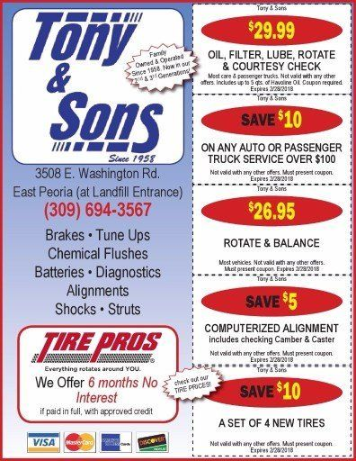 Tony and Sons auto service repairs alignments car repair maintenance oil change coupons East Peoria, IL