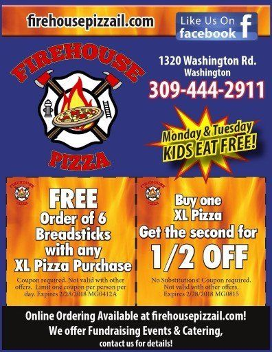 Firehouse Pizza breadsticks and pizza coupons washington, il