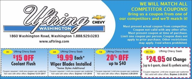 Uftring Chevy in Washington oil change coupons, 20% off service Washington, IL