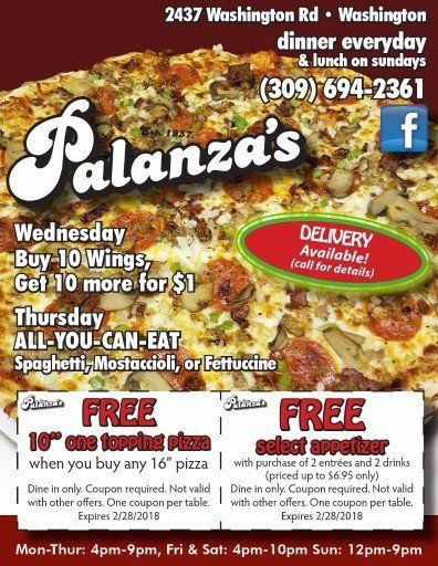 Palanza's Family Dining pizza discount coupons Washington, IL