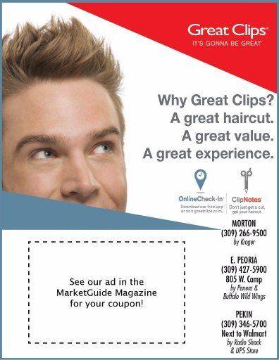 Great Clips Salon Haircuts $9.99 coupons Morton, East Peoria, Pekin, IL