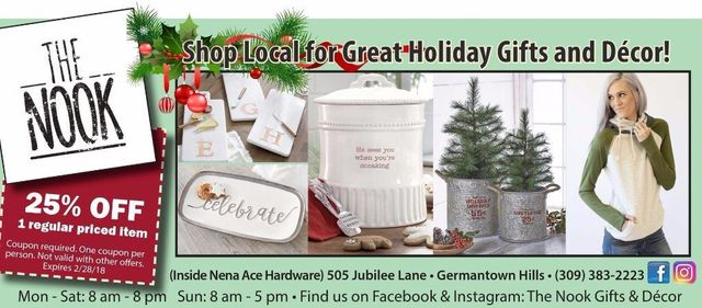 The Nook Gifts and Decor Nena Ace Hardware home decor, gifts, jewelry, floral coupon 25% off Germantown Hills, IL