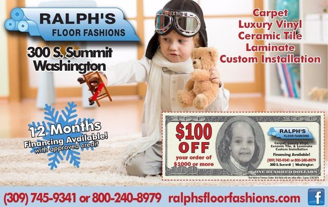 Ralph's Floor Fashions $100 off coupon offer Washington, IL