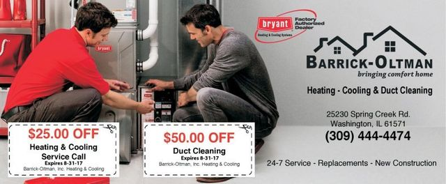 Barrick-Oltman HVAC heating and cooling duct cleaning coupons