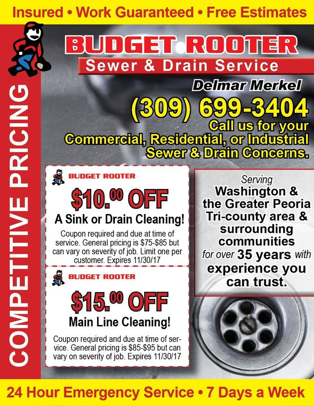 Budget Rooter Sewer and Drain Service coupons Washington, IL