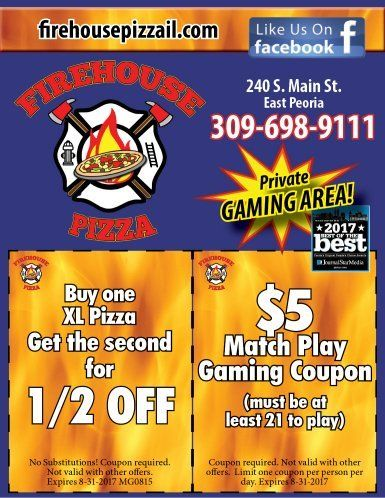 Firehouse Pizza and Pub gaming and pizza coupons east peoria, il