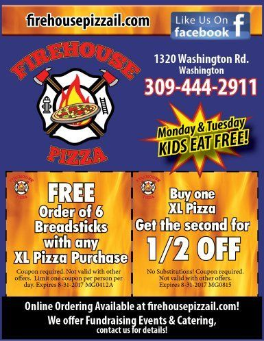 Firehouse Pizza and Pub breadsticks and pizza coupons washington, il