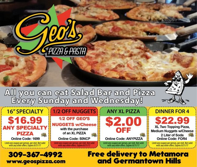 Geo's Pizza and Pasta discount offer coupons