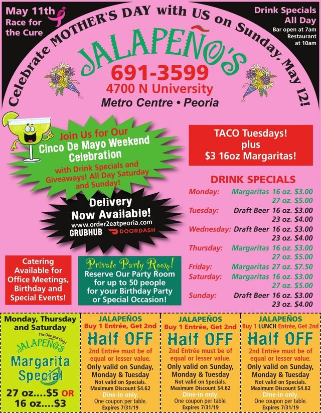 Jalapeno's Mexican restaurant and bar coupons