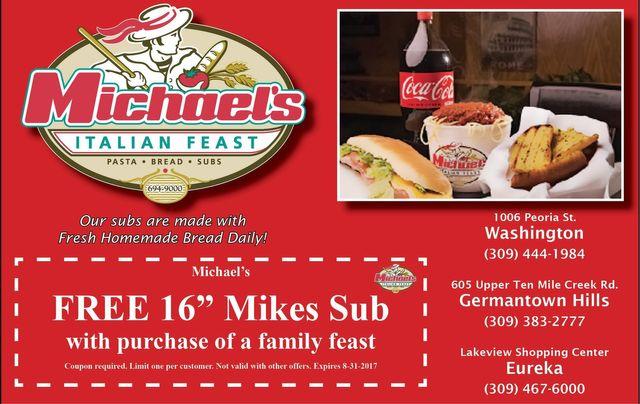 michaels italian feast pasta bread subs coupon washington eureka germantown hills