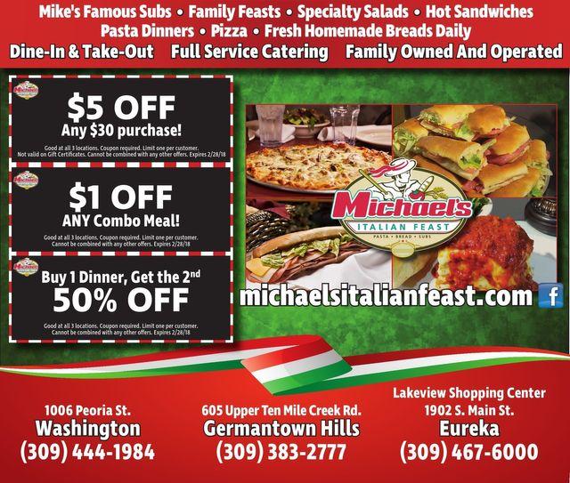 Michael's Italian Feast pasta bread subs combo dinner coupons Washington, Eureka, Germantown Hills, IL