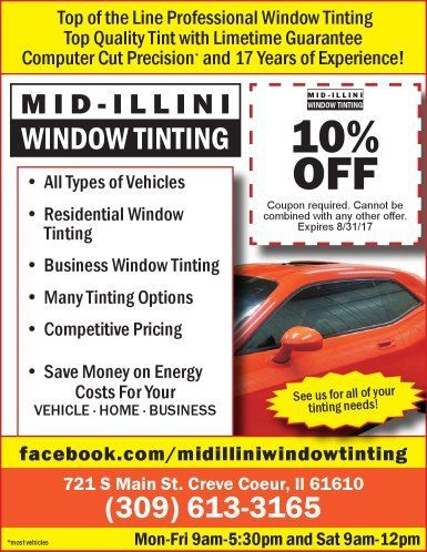 Mid-Illini Window Tinting home commercial car auto coupons