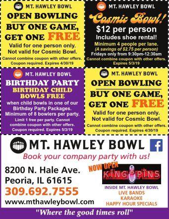 Mt Hawley Bowling open bowling cosmic bowl birthday parties king pins bar coupons