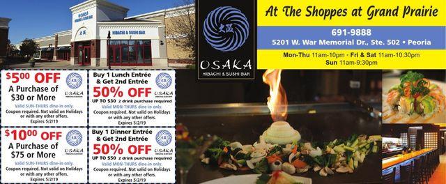 Osaka Hibachi and Sushi Bar BOGO 50% off coupons