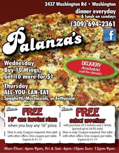 Palanza's Family Dining pizza washington discount coupons