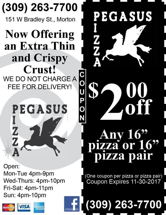 Pegasus Pizza $ off pizza or pair Morton, IL