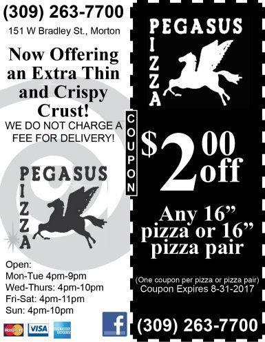 Pegasus Pizza discount coupon free delivery morton