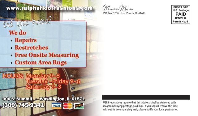 ralphs floor fashions repiars restreched free onsite measuring advertising postcard