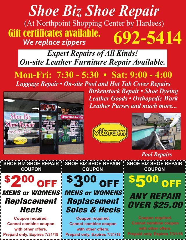 Shoe Biz Shoe Repair replacement soles heels at home repairs coupons Peoria, IL